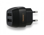 REMAX toalaadija-adapter, 2xUSB 2,1A, must
